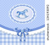 baby shower for boy with horse  ... | Shutterstock . vector #134193092
