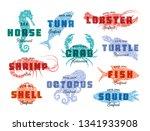 seafood logo set. sea creatures ... | Shutterstock .eps vector #1341933908