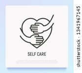 self care thin line icon  hands ... | Shutterstock .eps vector #1341967145