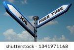 two blue arrow street signs... | Shutterstock . vector #1341971168
