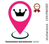 crown icon and map pin. logo...