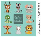 collection of cute safari... | Shutterstock .eps vector #1341982325