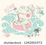 dinosaur baby cute print. sweet ... | Shutterstock .eps vector #1342001972