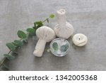 eucalyptus leaves and candle... | Shutterstock . vector #1342005368
