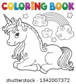 coloring book stylized unicorn... | Shutterstock .eps vector #1342007372