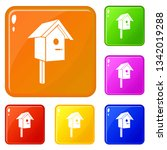 birdhouse icons set collection... | Shutterstock .eps vector #1342019288
