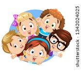 blond  brunette  redheaded boys ... | Shutterstock .eps vector #1342024025