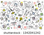 doodle background with hand... | Shutterstock .eps vector #1342041242