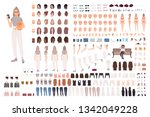stylish young woman animation... | Shutterstock .eps vector #1342049228
