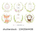 cute baby animal with border... | Shutterstock .eps vector #1342064438