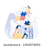 group of tiny office workers or ... | Shutterstock .eps vector #1342074092