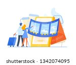 man and woman tourists standing ... | Shutterstock .eps vector #1342074095