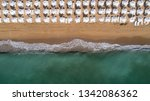 top down view of beach with... | Shutterstock . vector #1342086362