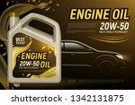 realistic motor oil car... | Shutterstock .eps vector #1342131875
