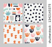 set with abstract pattern.... | Shutterstock .eps vector #1342145375