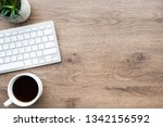 wood office desk table with... | Shutterstock . vector #1342156592