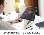 young programmer is coding and... | Shutterstock . vector #1342156652