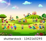 happy children playing outside | Shutterstock . vector #1342165295