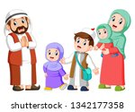 happy arab family couple with... | Shutterstock . vector #1342177358