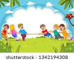 children play tug of war in... | Shutterstock .eps vector #1342194308