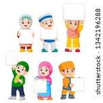 collection of muslim kids... | Shutterstock .eps vector #1342196288
