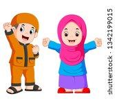 happy moslem kid cartoon... | Shutterstock .eps vector #1342199015