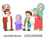 happy arab family couple with... | Shutterstock .eps vector #1342200038