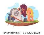 primitive man writing message... | Shutterstock .eps vector #1342201625