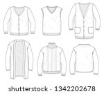 set of knitted sweaters  vests... | Shutterstock .eps vector #1342202678