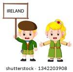 cartoon ireland couple wearing... | Shutterstock .eps vector #1342203908