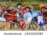 warriors of ancient greece... | Shutterstock . vector #1342205585