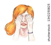 girl closed eyes with her hands ... | Shutterstock . vector #1342250825