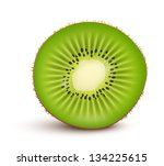 fresh kiwi fruit slice isolated ... | Shutterstock .eps vector #134225615