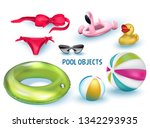 pool objects. vecot illustration | Shutterstock .eps vector #1342293935