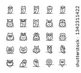 owl  icons collection in line... | Shutterstock . vector #1342311422