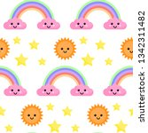 seamless pattern with rainbow... | Shutterstock . vector #1342311482