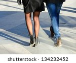Pedestrians in motion - stock photo