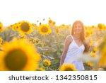 beautiful woman with long hair... | Shutterstock . vector #1342350815
