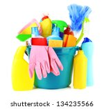 cleaning items in bucket... | Shutterstock . vector #134235566