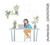 office workplace with woman ... | Shutterstock .eps vector #1342415528