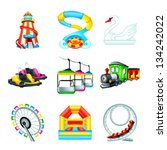 colorful amusement park or... | Shutterstock .eps vector #134242022