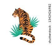 vector card with cute tiger... | Shutterstock .eps vector #1342426982