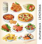 set of traditional food icons. | Shutterstock .eps vector #134243666