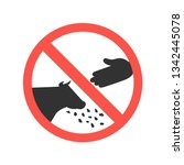 do not feed the cow ban mark on ... | Shutterstock .eps vector #1342445078