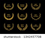film awards. gold award wreaths ... | Shutterstock .eps vector #1342457708