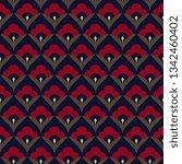 japan wave pattern ditzy floral ... | Shutterstock .eps vector #1342460402