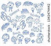 vector pattern with children...   Shutterstock .eps vector #1342474442