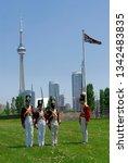 redcoat soldiers practicing... | Shutterstock . vector #1342483835