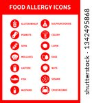 food allergy icons including... | Shutterstock .eps vector #1342495868