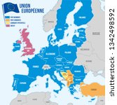 map of the european union in... | Shutterstock .eps vector #1342498592